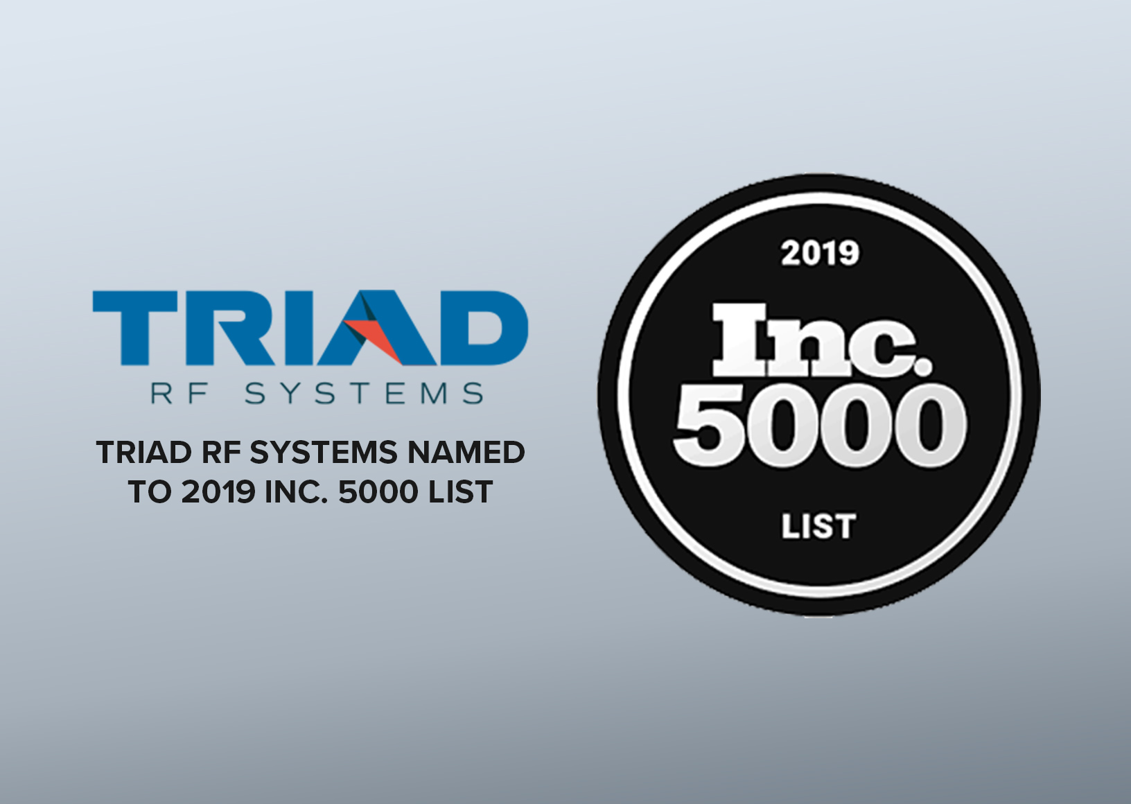 Triad RF Systems Named to 2019 Inc. 5000 List of Fastest Growing Companies